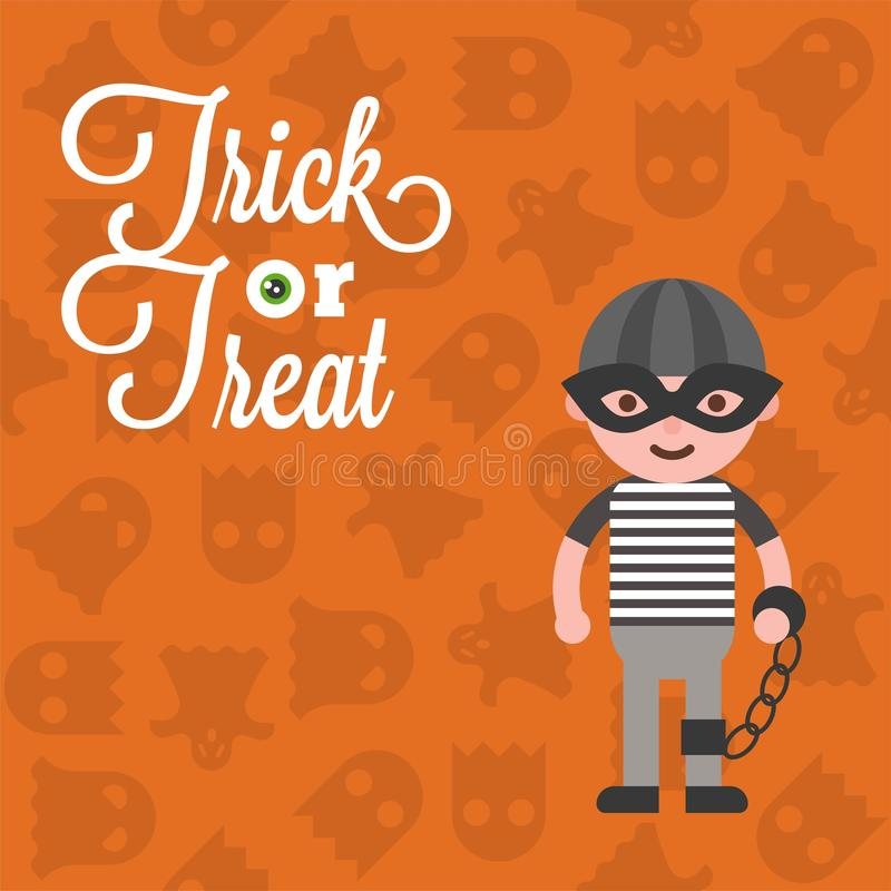Halloween character pirate costume on ghost background, flat design stock illustration