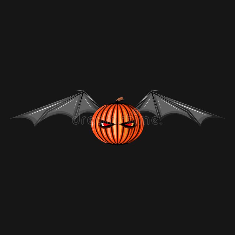Halloween character pumpkin with bat wings monster. Ghost spooky jack symbol. Scary Allhalloween night background, illustration vector illustration