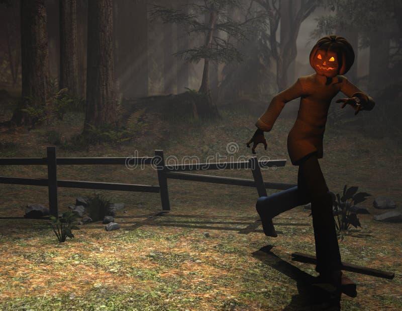Halloween character pumpkin man running royalty free illustration