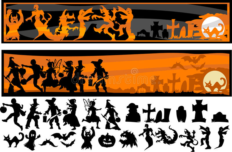 Halloween Character Silhouettes Royalty Free Stock Photography