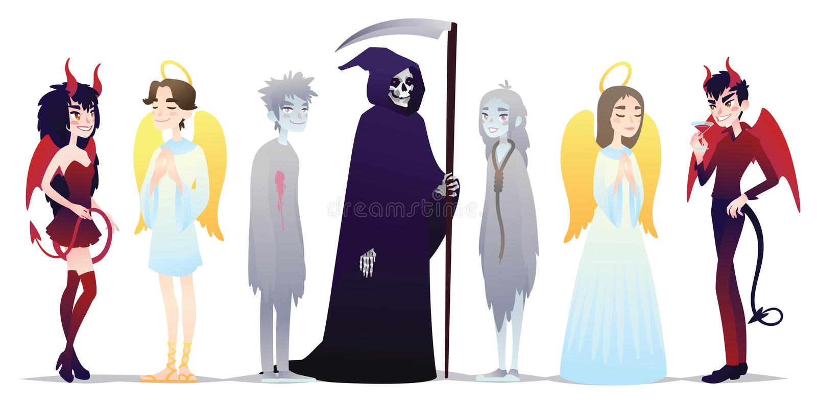 Halloween characters in cartoon style. Vector illustration of group of young people dressed up for Halloween masquerade vector illustration