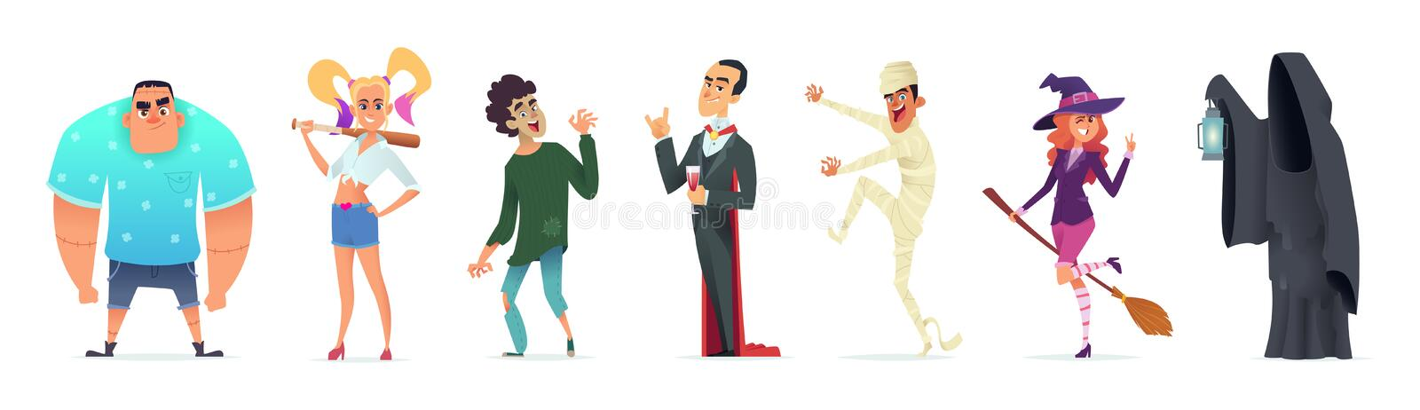 People in costumes for Halloween. Character design for a happy Halloween party. Vector illustration. People in costumes for Halloween. Character design for a stock illustration