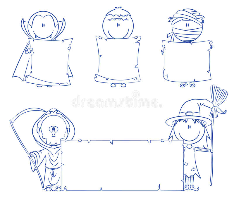 Halloween characters with empty banner vector illustration