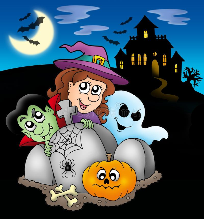 Download Halloween Characters Before Mansion Stock Illustration - Illustration of house, look: 11149392