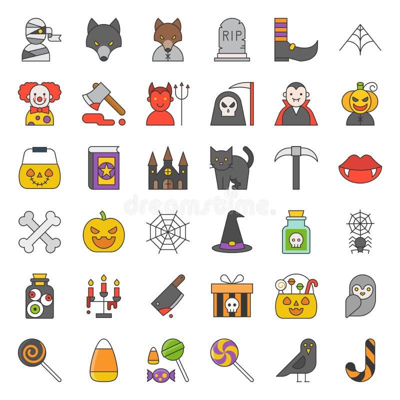 Halloween-Charakter und gespenstische Sachen, Ikone wie Geist, Süßigkeit vektor abbildung