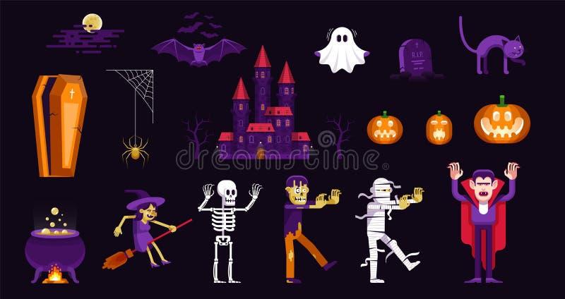 Halloween-Charaktere und -ikonen eingestellt in Karikaturart lizenzfreie abbildung