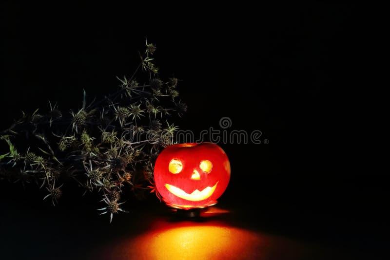Halloween-Charakterkerzenständer mit brennender Kerze und trockene Distel auf schwarzem Hintergrund Kreative Idee, Fantasie und F lizenzfreie stockfotos