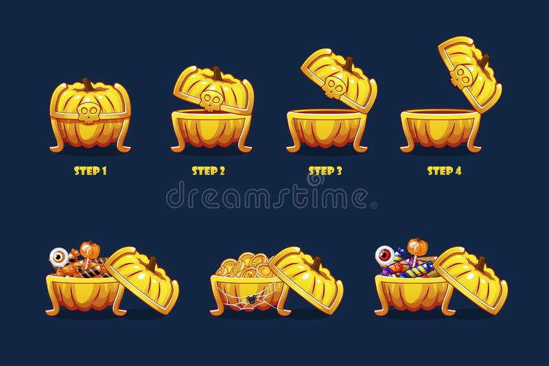 Halloween chest with sweets and coins. Vector animation step by step open and closed pumpkin chest royalty free illustration