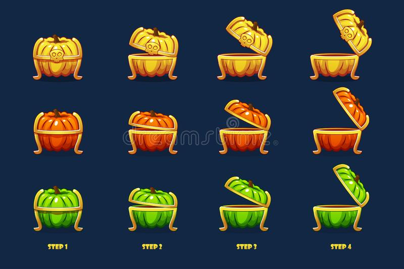 Halloween chest. Vector animation step by step open and closed pumpkin chest royalty free illustration