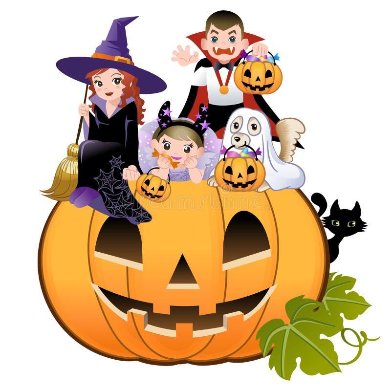 Free Halloween Children Wearing Costume On Pumpkin Stock Photo - 26841520