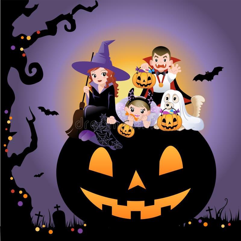 Halloween children wearing costume on pumpkin