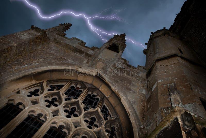 Halloween church with lightning
