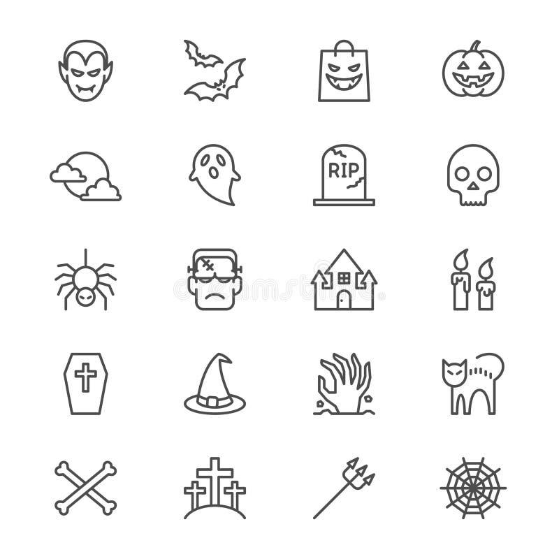 Halloween cienkie ikony ilustracja wektor