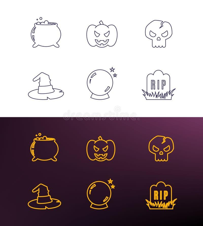 Halloween cienkie kreskowe ikony dla sieci i wiszącej ozdoby Kontur ikony wakacje wektorowy set ilustracja wektor