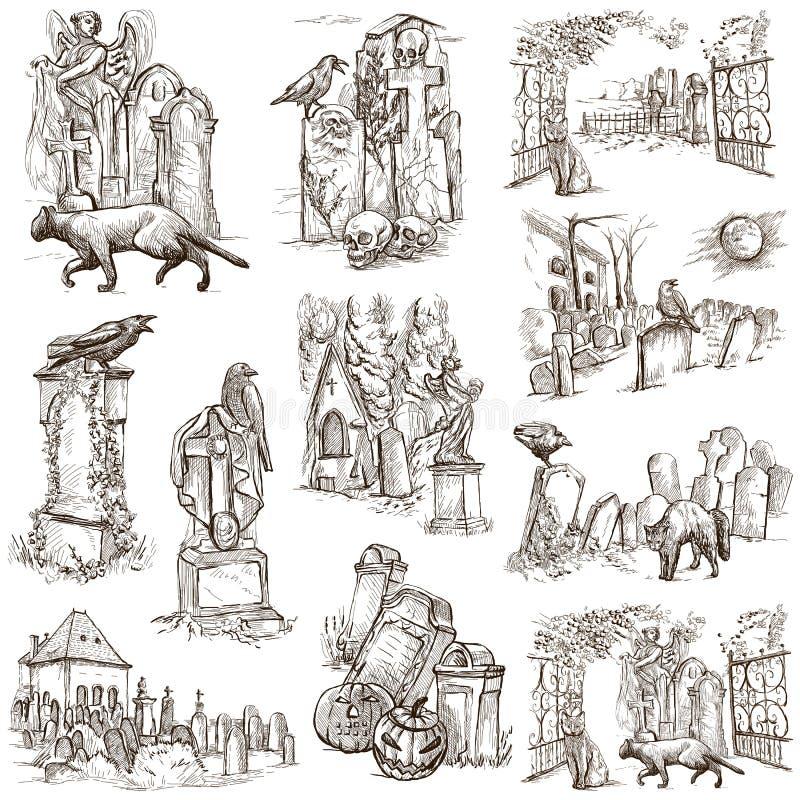 Halloween, cimetières - un paquet blanc tiré par la main illustration de vecteur