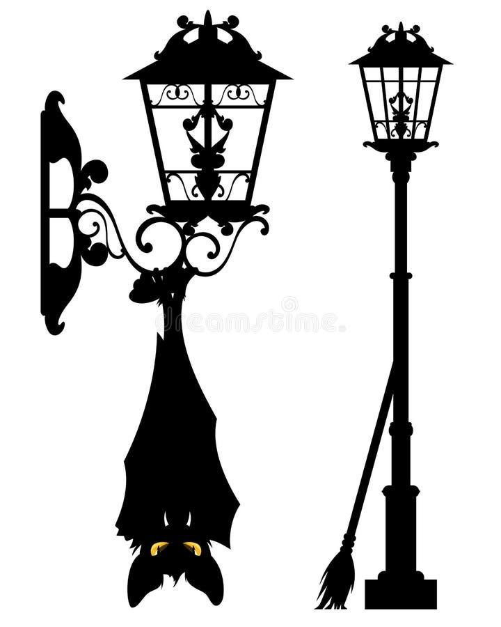 Free Halloween City Streetlight With Evil Bat Stock Photos - 126172903