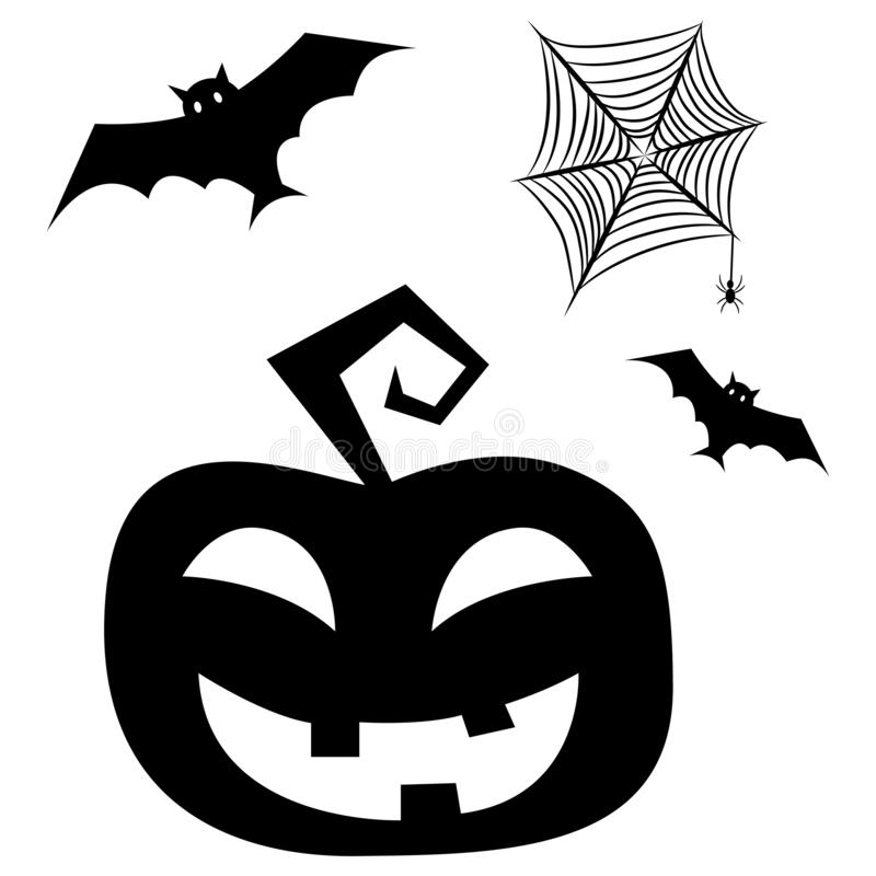 Halloween clipart elements with bats, pumpkin and spider net. stock illustration