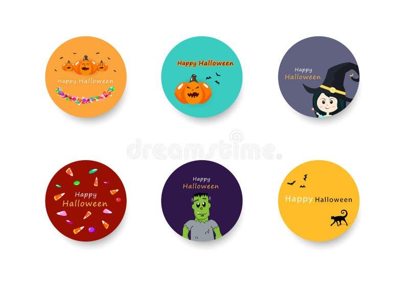 Halloween, colección fijada para los niños, vacaciones de la celebración, fondo de los círculos de la bandera de la etiqueta engo stock de ilustración