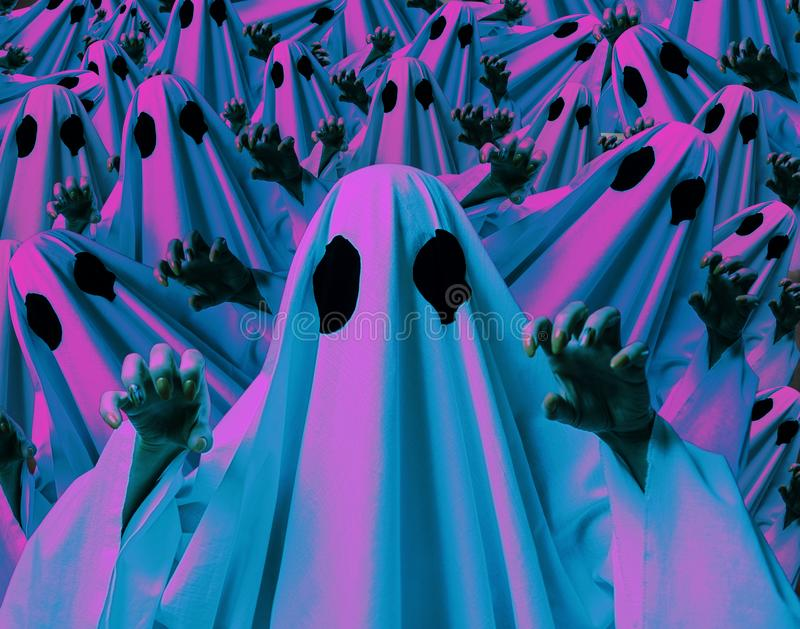 Halloween collage of holographic color effect ghosts. stock image