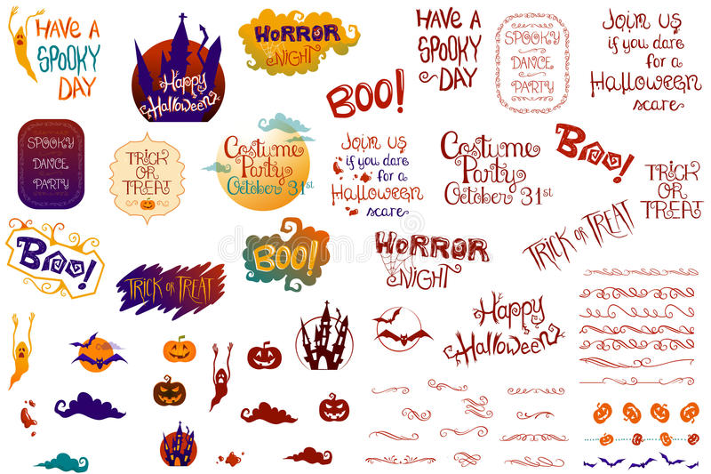 Halloween Collection. This new Halloween Collection includes several Halloween quotes, hand-drawn and decorated, as well as vintage ornaments, simple Halloween vector illustration