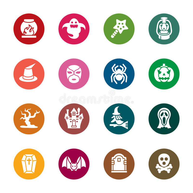Halloween Color Icons. A collection of different kinds of halloween color icons. It contains hi-res JPG, PDF and Illustrator 9 files vector illustration