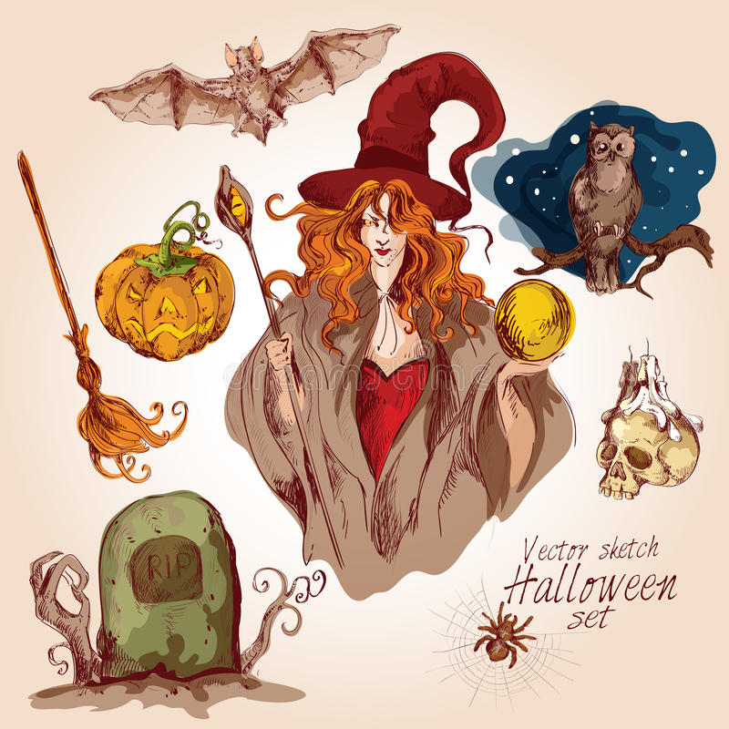 Halloween coloreó el sistema del bosquejo libre illustration