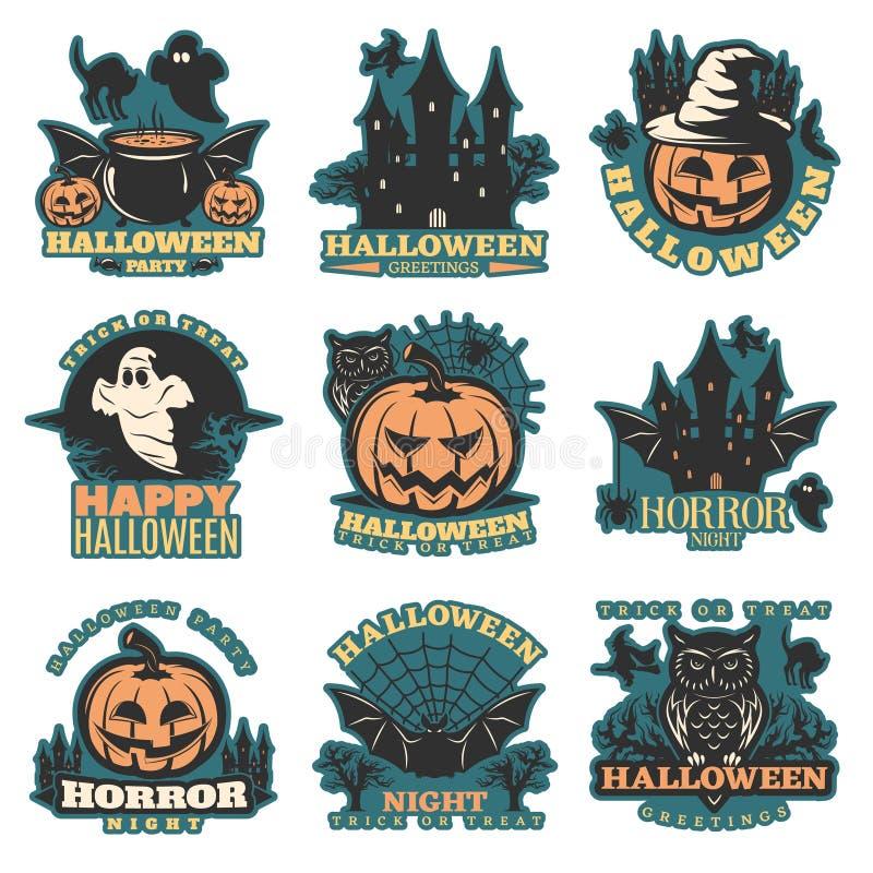 Halloween coloreó emblemas stock de ilustración