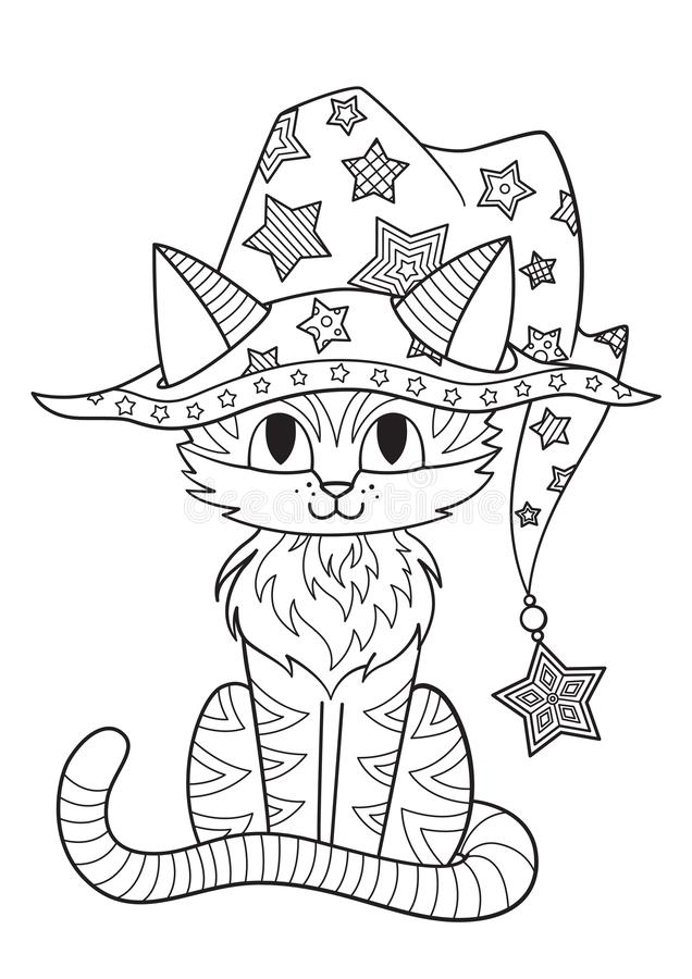 Halloween Coloring Book Page Cat In The Witch Hat Stock Illustration Illustration Of Adult Halloween 158816753