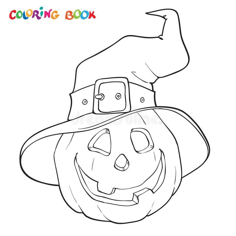 Halloween coloring book. Pumpkin in the hat. stock illustration