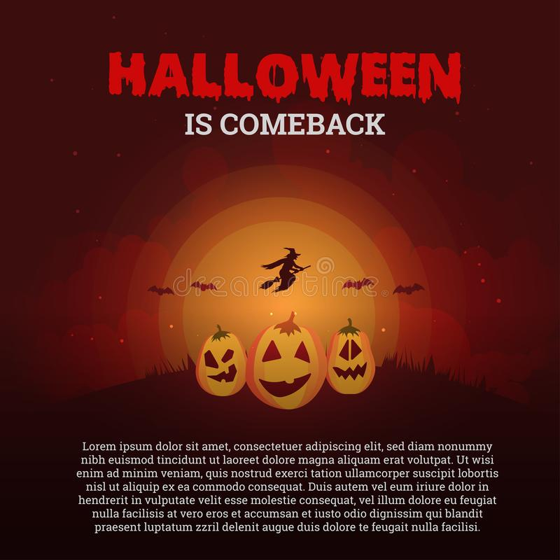 Halloween is comeback poster with three pumpkins stock illustration
