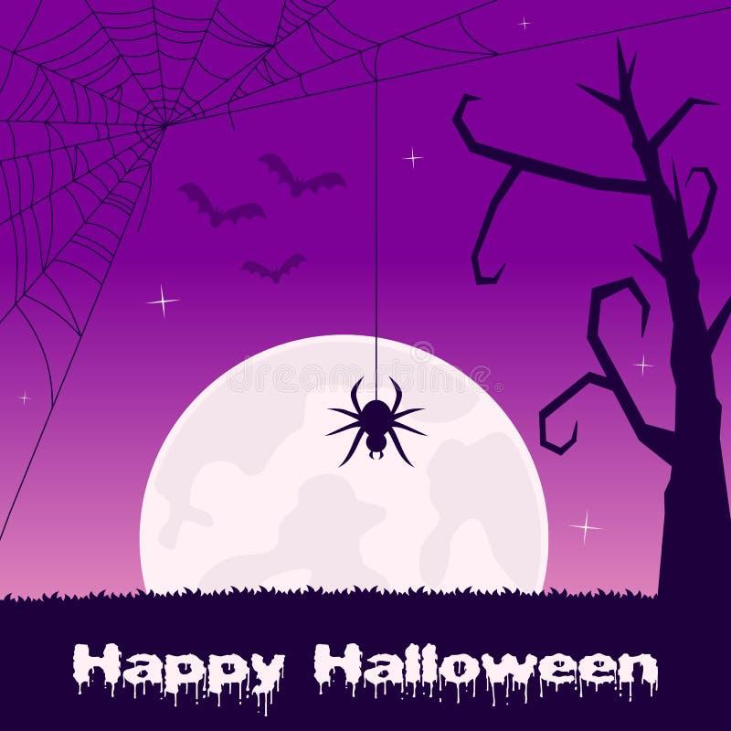 Halloween con el web y los palos asustadizos de araña stock de ilustración