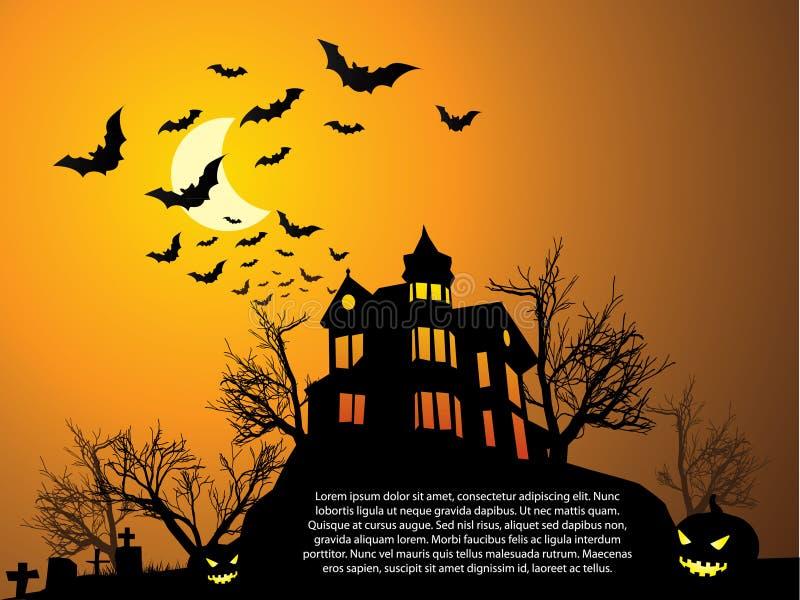 Halloween con la casa frequentata illustrazione vettoriale