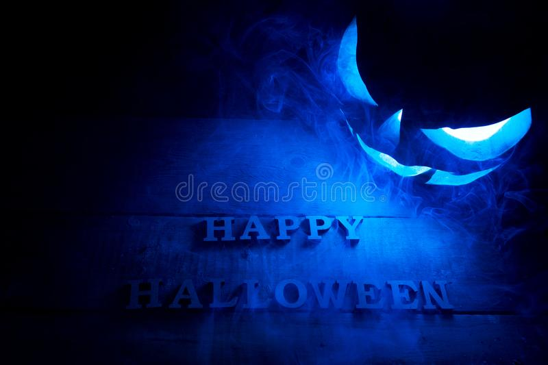 Halloween concept. Background of the holiday mystical pumpkin, j royalty free stock photography