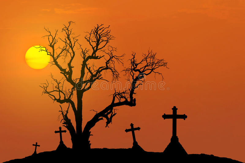 Halloween concept background with scary silhouette dead tree and spooky silhouette crosses with full moon stock photos