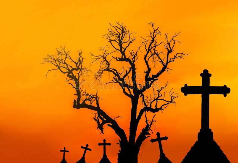 Halloween concept background with scary silhouette dead tree and spooky silhouette crosses royalty free stock photos