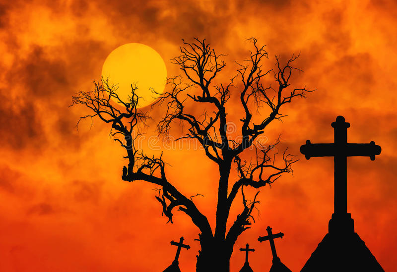Halloween concept background with scary silhouette dead tree and spooky silhouette crosses in mystic graveyard and full moon stock images