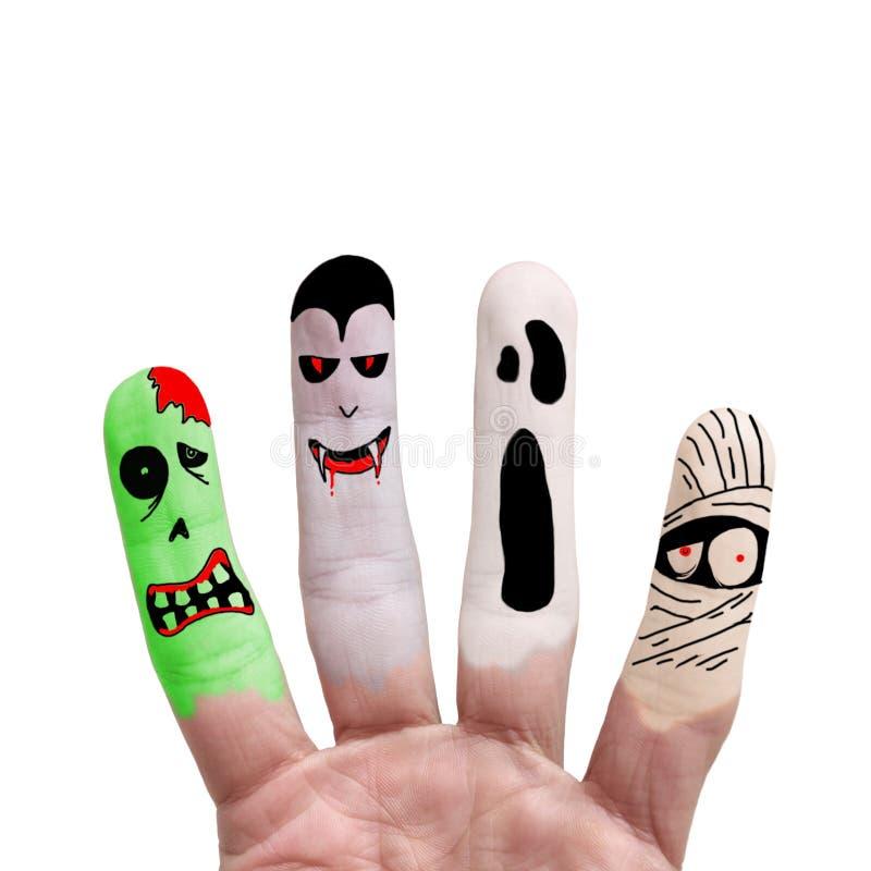 Halloween-concept - Geschilderde vinger royalty-vrije stock afbeelding