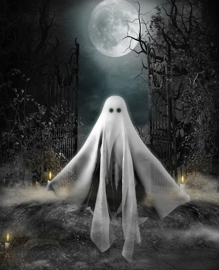 Halloween Concept Ghost. 3D illustration of a ghost hovering at the entrance to an eerily lit yard under a full moon. Halloween concept vector illustration