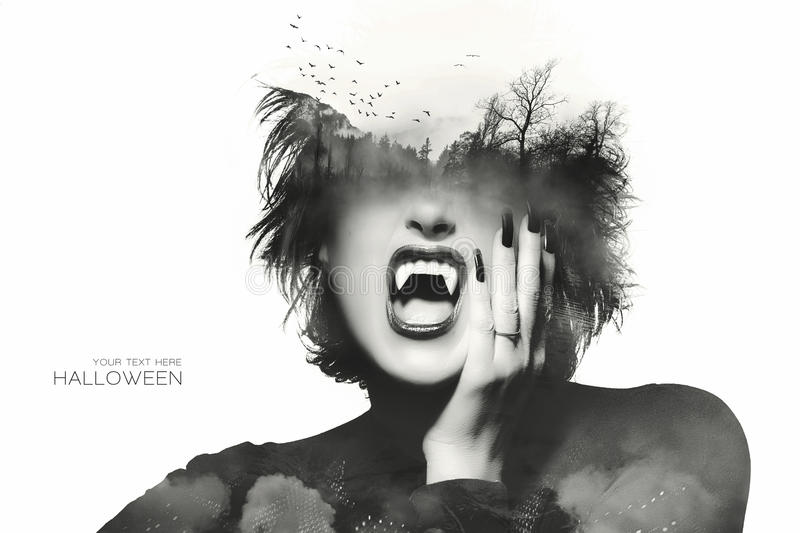Halloween concept with a Gothic girl. Double Exposure royalty free stock photo