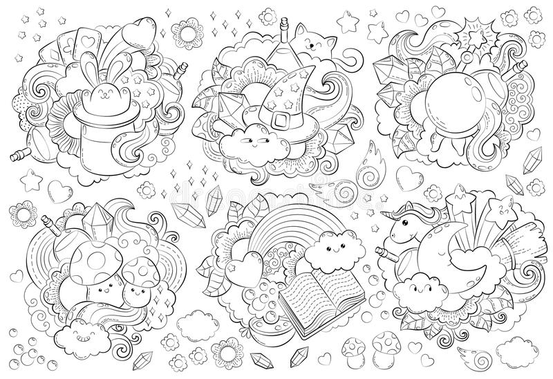 Halloween Concept. Hand drawn doodle illustration. Seamless magic pattern. Cartoon Doodle Patches and Badges. Anti royalty free illustration
