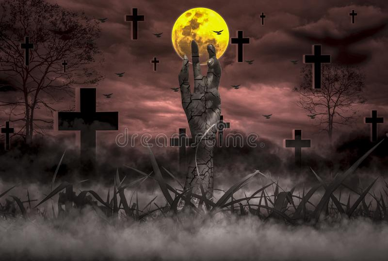 Halloween Concept Horror, night with resurrected zombie hands popping out of hell. With moon floating in sky, atmosphere in cold cemetery and grave is full of stock photos