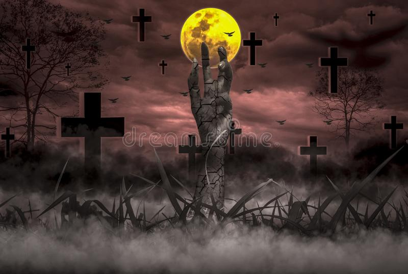 Halloween Concept Horror, night with resurrected zombie hands popping out of hell With moon floating in sky,. Atmosphere in cold cemetery and grave is full of royalty free stock image