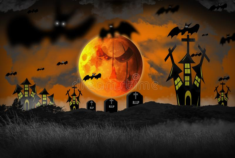 Halloween concept with night horror, Filled with fog and with castles and graves full of crucifixes,. Sky and super yellow moon and fly out bats, For decorating stock images