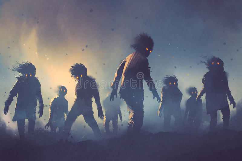 Halloween concept of zombie crowd walking at night royalty free illustration