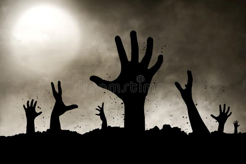 Zombies hand silhouette vector illustration