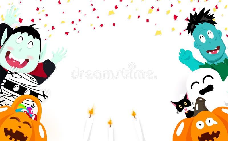 Halloween, confettis tombant, festival mignon de vampire, de potiron, de maman, de chats, fantasmagorique et de zombi de bande de illustration de vecteur