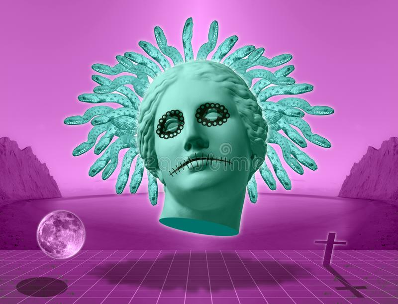 Halloween. Contemporary art concept collage with antique statue head of Venus in a surreal horror style. vector illustration
