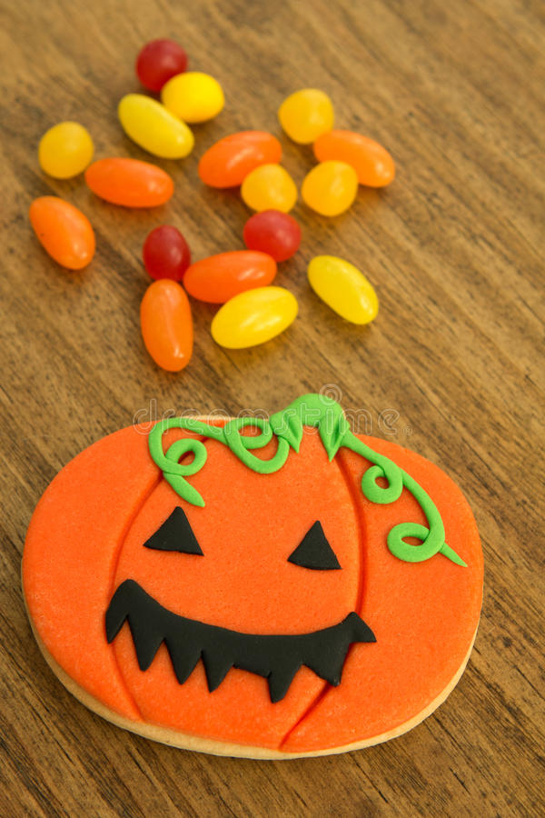 Halloween cookie and candies royalty free stock photo