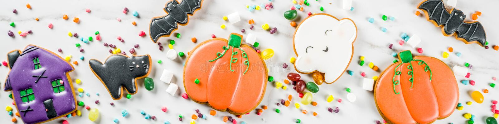 Halloween cookies and candies royalty free stock images