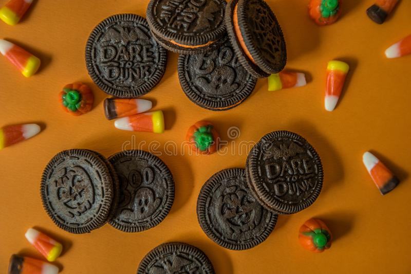 Halloween cookies with candy corn stock image